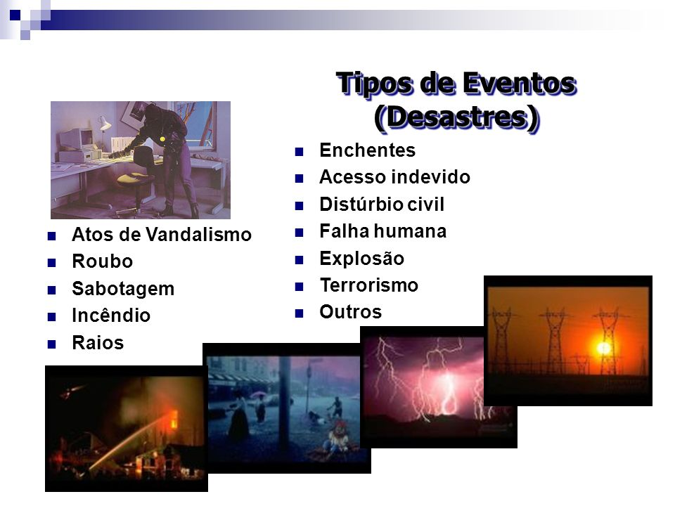 Tipos de Eventos (Desastres)