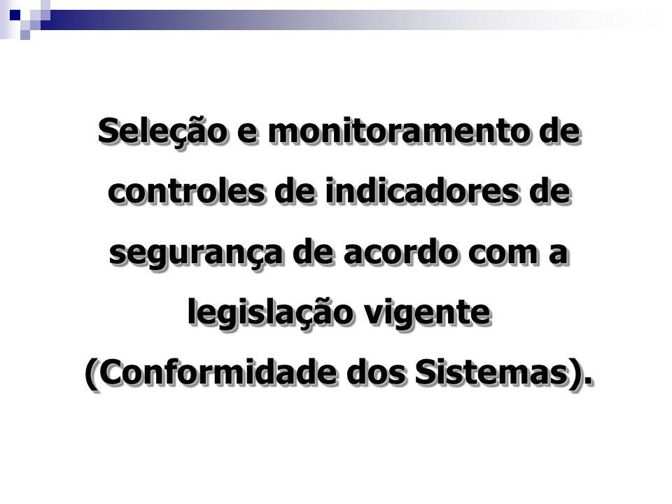 Seleção e monitoramento de controles de indicadores de segurança de acordo com a legislação vigente (Conformidade dos Sistemas).