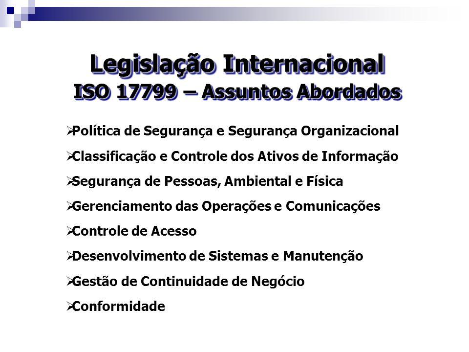 Legislação Internacional ISO 17799 – Assuntos Abordados