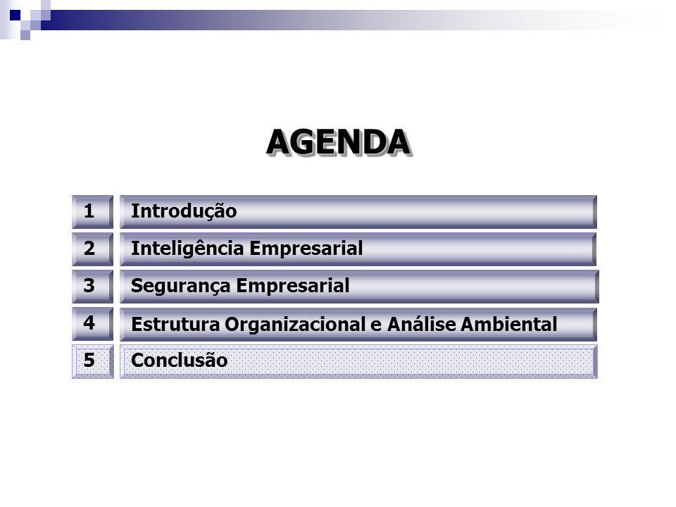 AGENDA 1 Introdução 2 Inteligência Empresarial 3 Segurança Empresarial