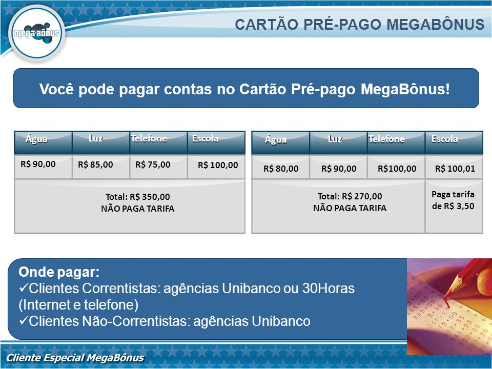CARTÃO PRÉ-PAGO MEGABÔNUS