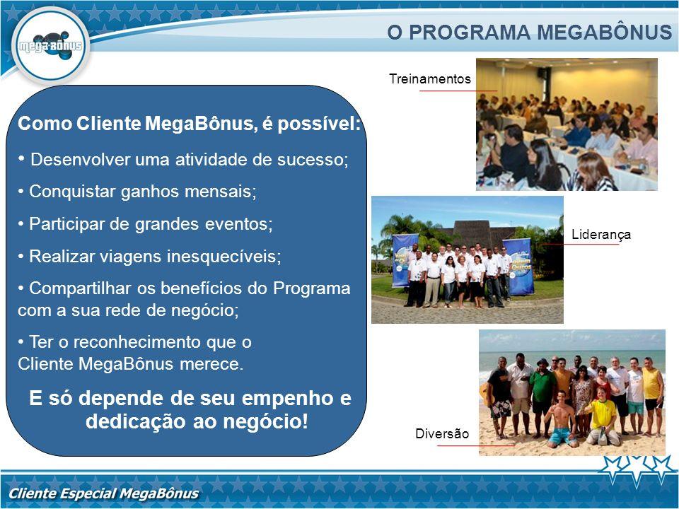 O PROGRAMA MEGABÔNUS Treinamentos. Como Cliente MegaBônus, é possível: Desenvolver uma atividade de sucesso;
