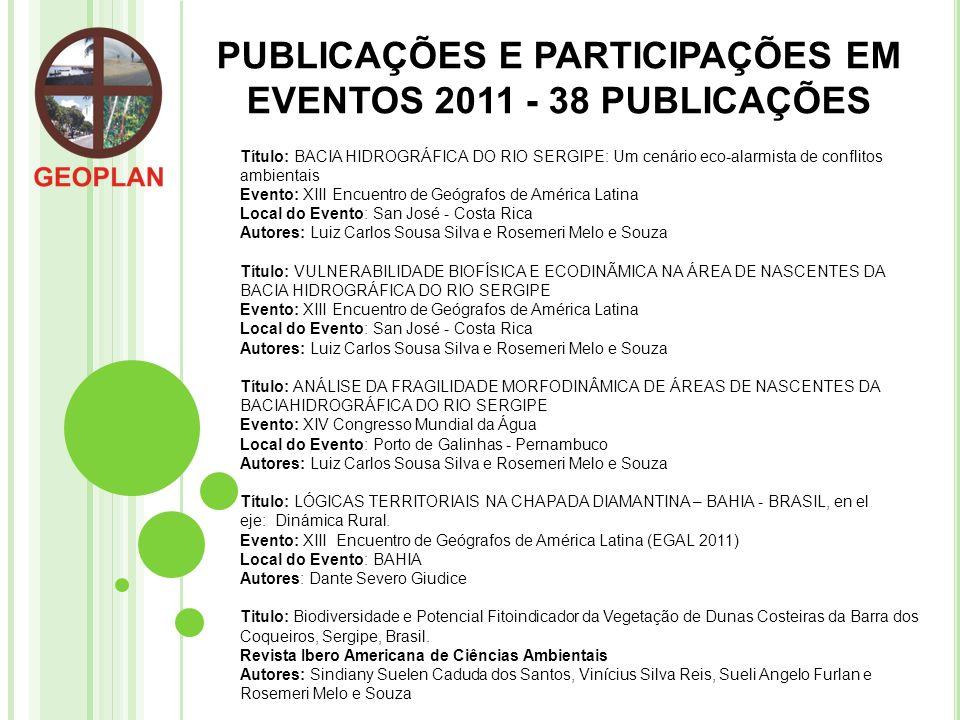 PUBLICAÇÕES E PARTICIPAÇÕES EM EVENTOS 2011 - 38 PUBLICAÇÕES