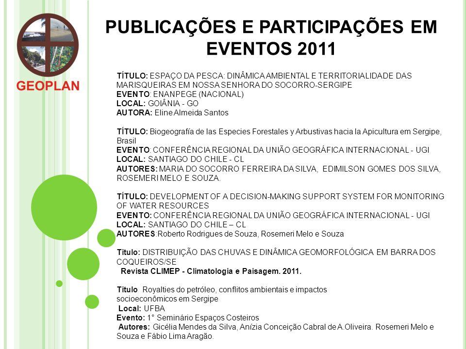 PUBLICAÇÕES E PARTICIPAÇÕES EM EVENTOS 2011