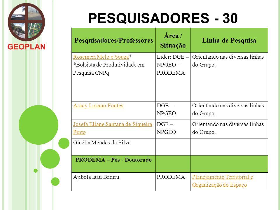 Pesquisadores/Professores PRODEMA – Pós - Doutorado