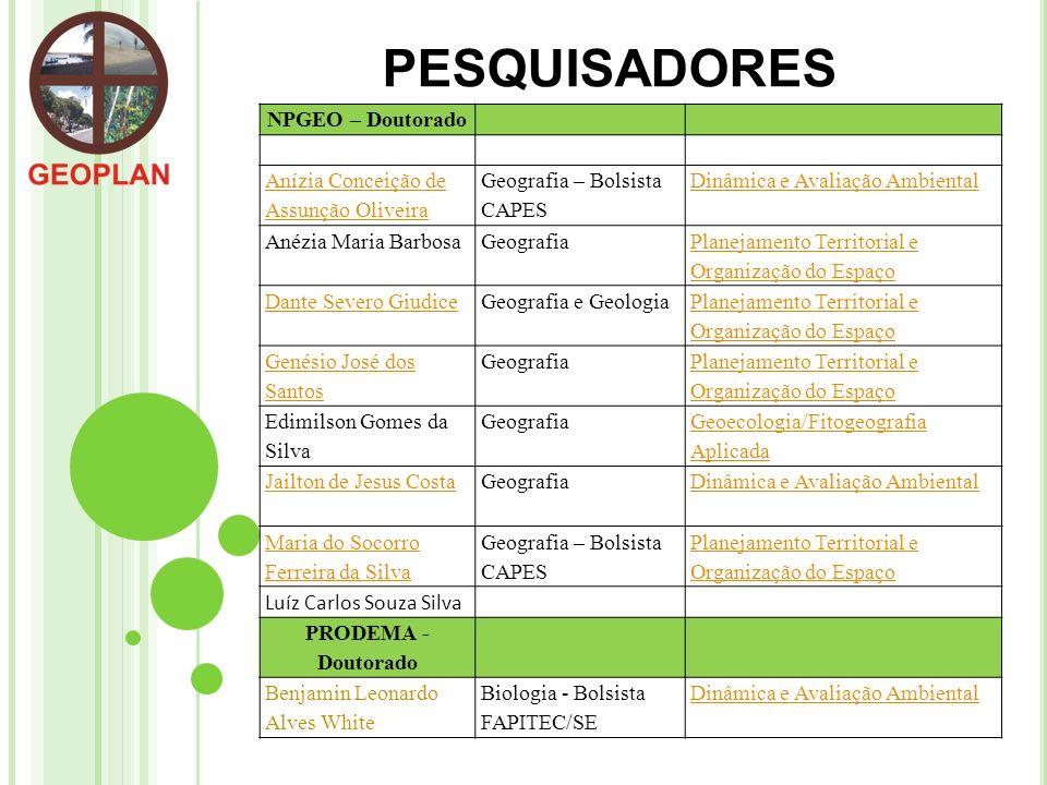 PESQUISADORES NPGEO – Doutorado Anízia Conceição de Assunção Oliveira