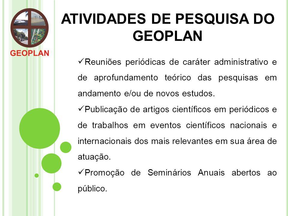ATIVIDADES DE PESQUISA DO GEOPLAN