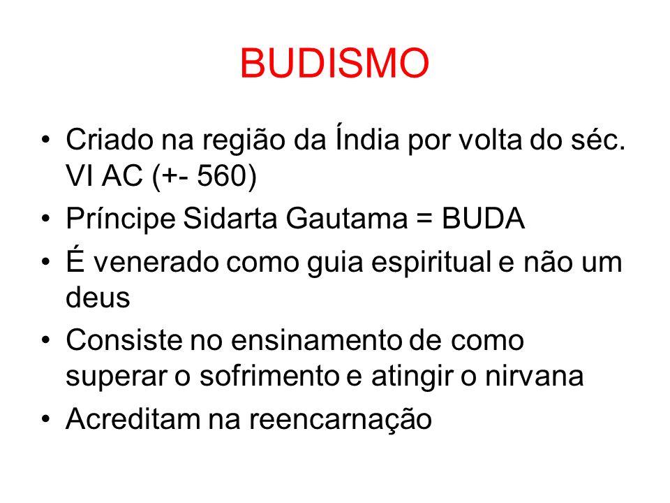 BUDISMO Criado na região da Índia por volta do séc. VI AC (+- 560)