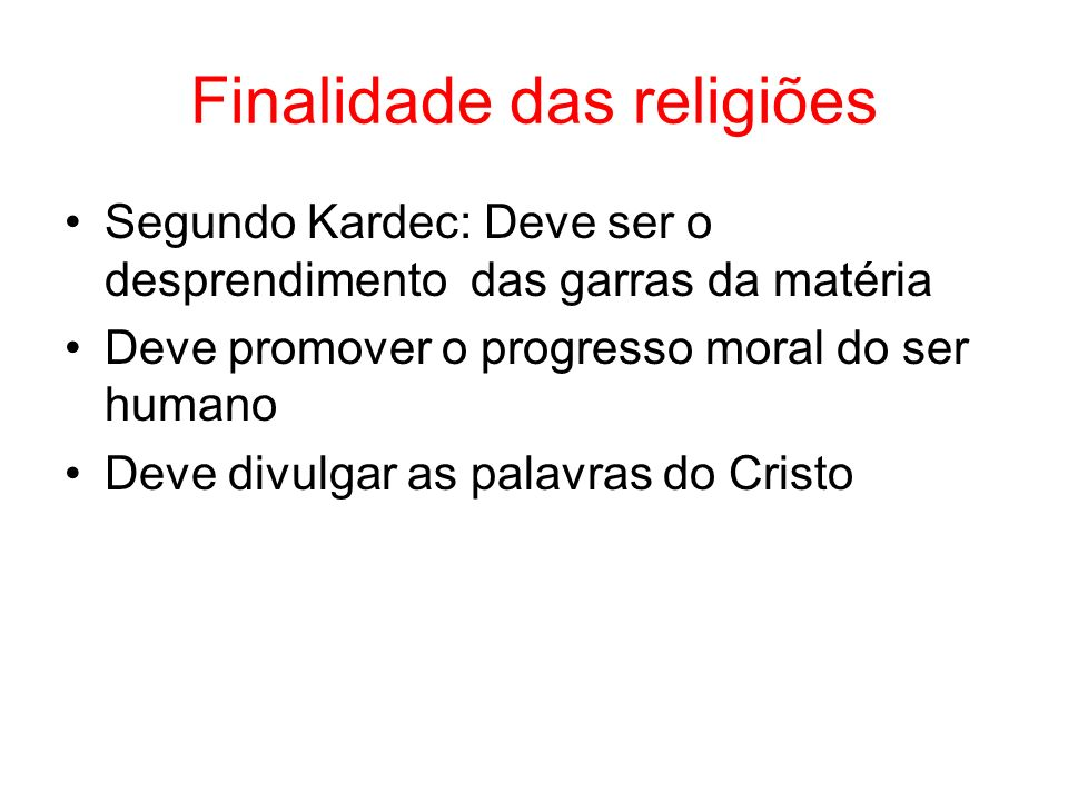 Finalidade das religiões