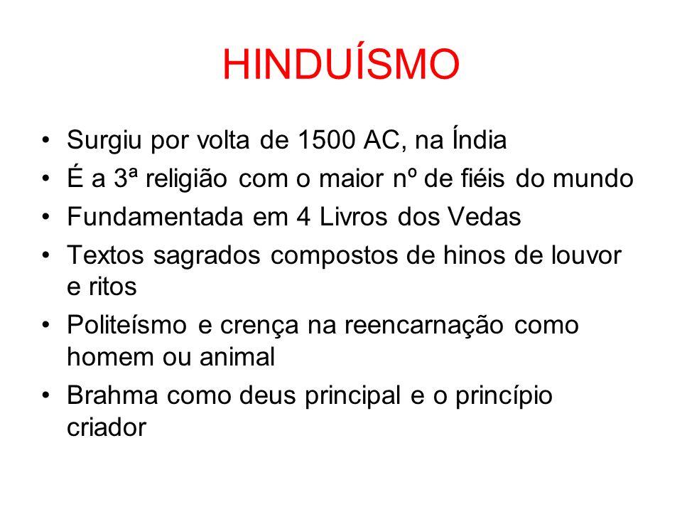 HINDUÍSMO Surgiu por volta de 1500 AC, na Índia