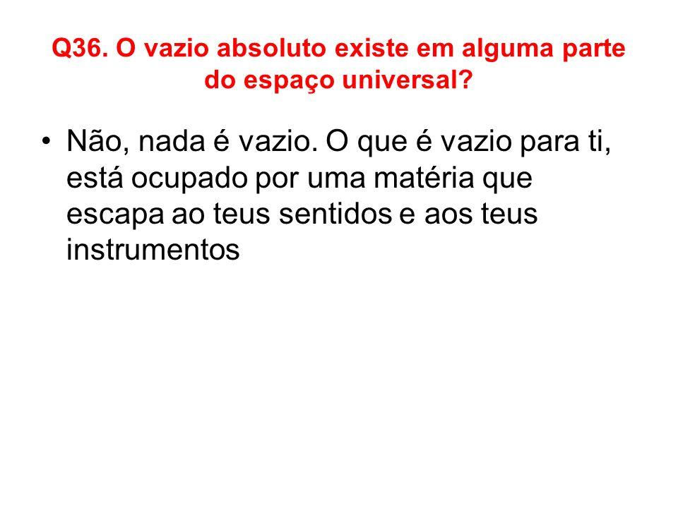Q36. O vazio absoluto existe em alguma parte do espaço universal
