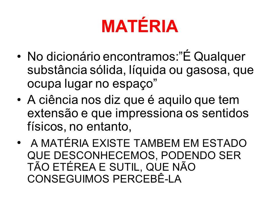 MATÉRIA No dicionário encontramos: É Qualquer substância sólida, líquida ou gasosa, que ocupa lugar no espaço