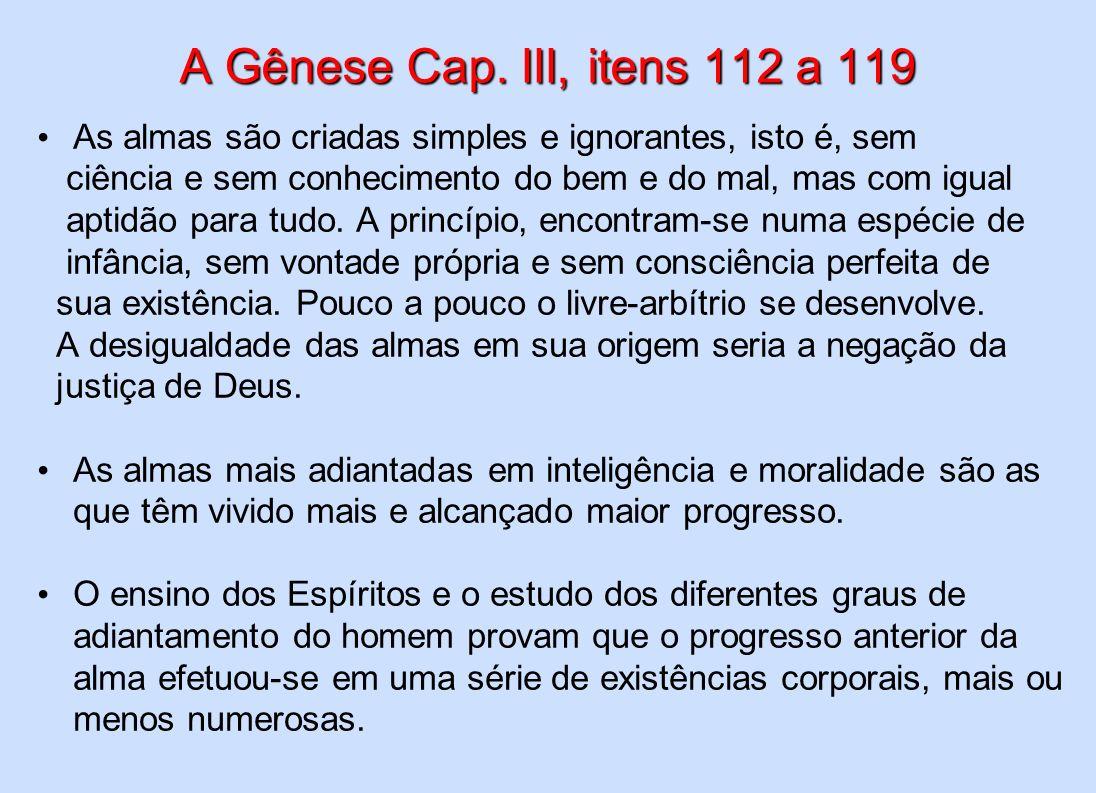 A Gênese Cap. III, itens 112 a 119 As almas são criadas simples e ignorantes, isto é, sem. ciência e sem conhecimento do bem e do mal, mas com igual.