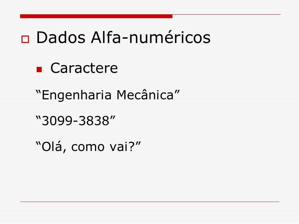 Dados Alfa-numéricos Caractere Engenharia Mecânica 3099-3838