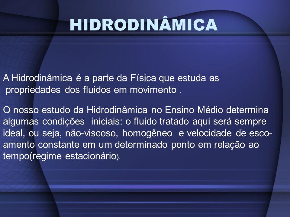 HIDRODINÂMICA A Hidrodinâmica é a parte da Física que estuda as