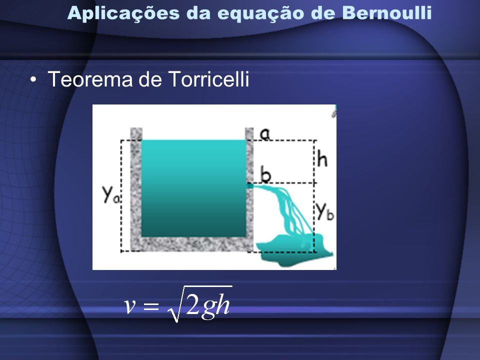 Aplicações da equação de Bernoulli