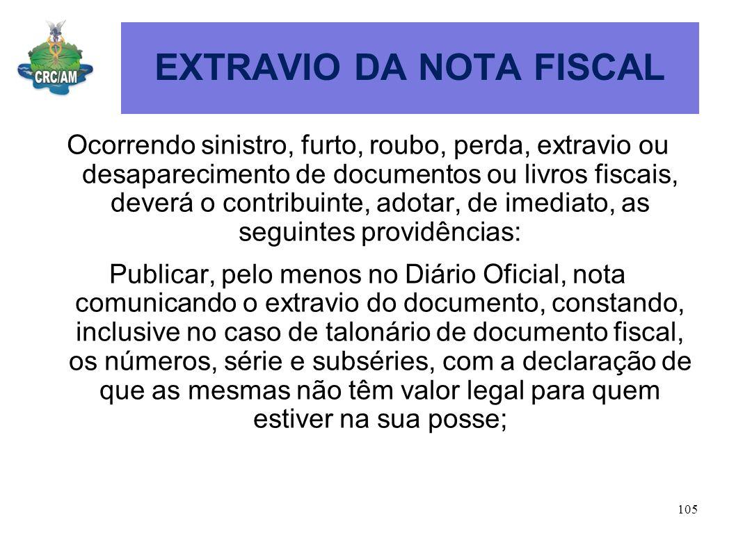 EXTRAVIO DA NOTA FISCAL
