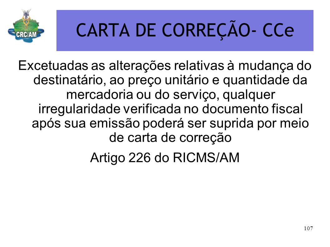 CARTA DE CORREÇÃO- CCe