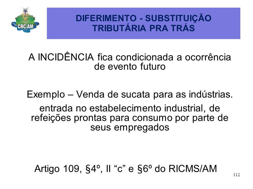 DIFERIMENTO - SUBSTITUIÇÃO TRIBUTÁRIA PRA TRÁS