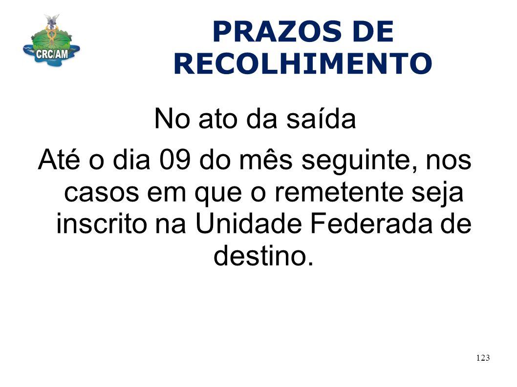 PRAZOS DE RECOLHIMENTO