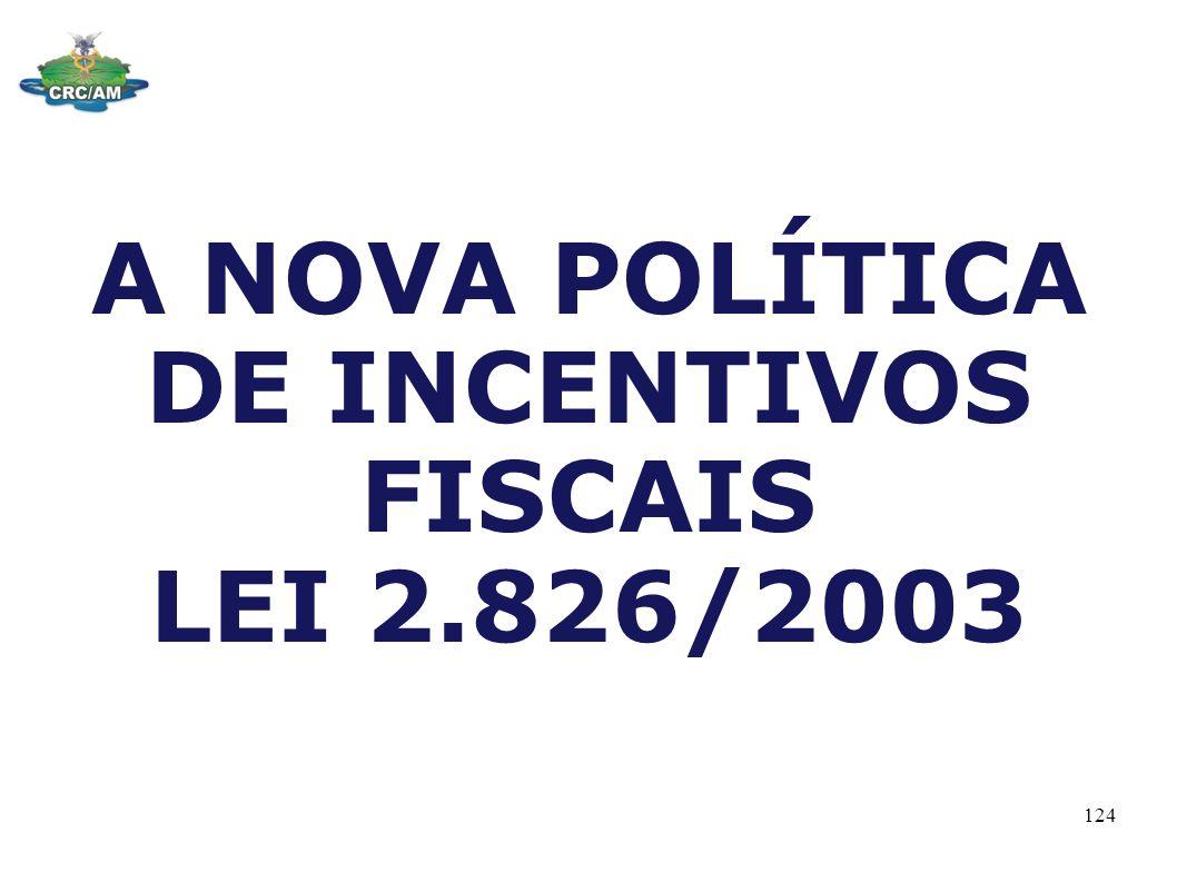 A NOVA POLÍTICA DE INCENTIVOS FISCAIS LEI 2.826/2003