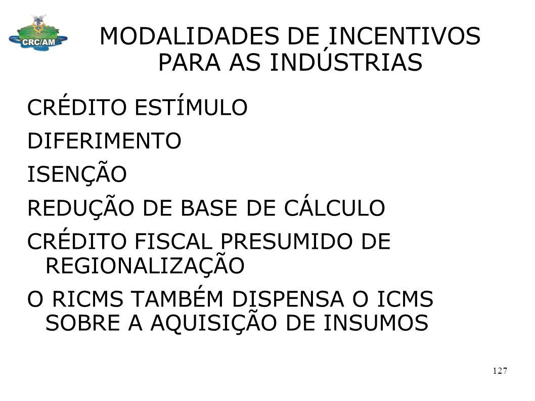 MODALIDADES DE INCENTIVOS PARA AS INDÚSTRIAS