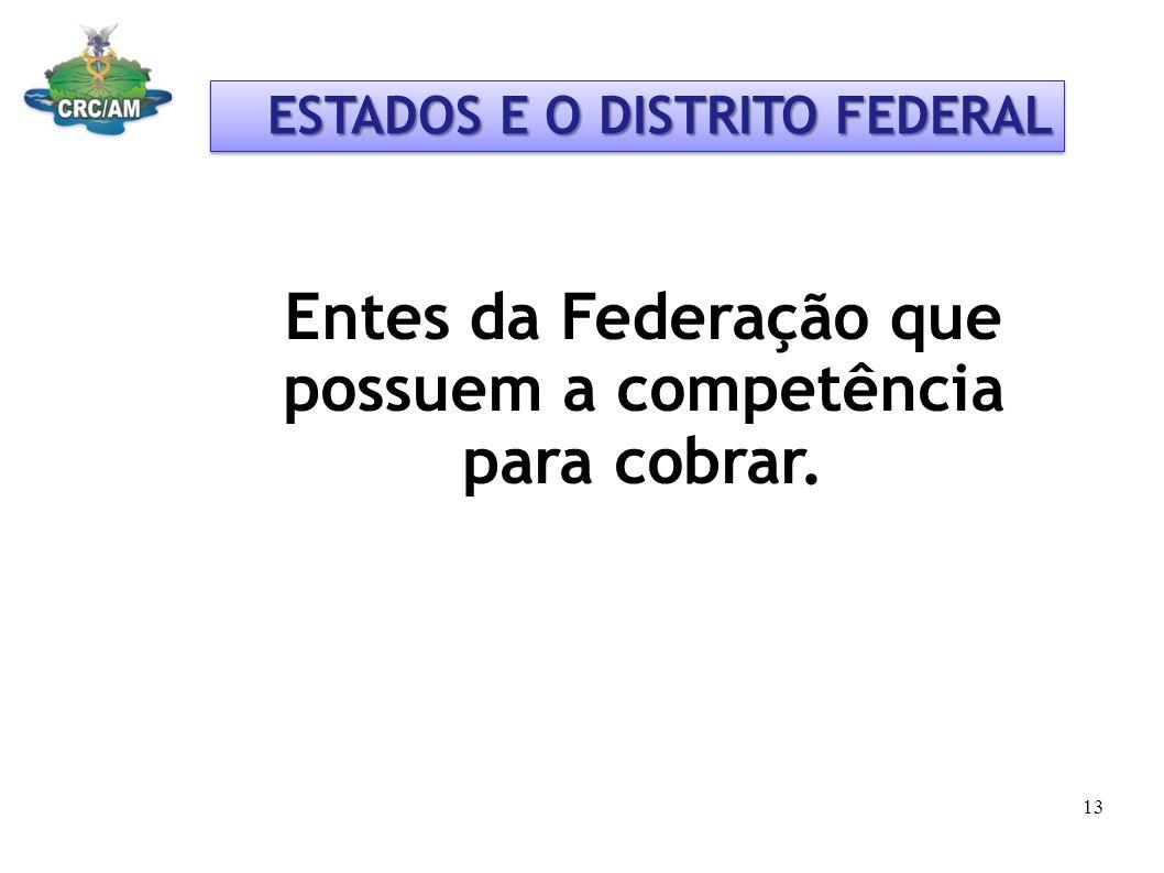 Entes da Federação que possuem a competência para cobrar.