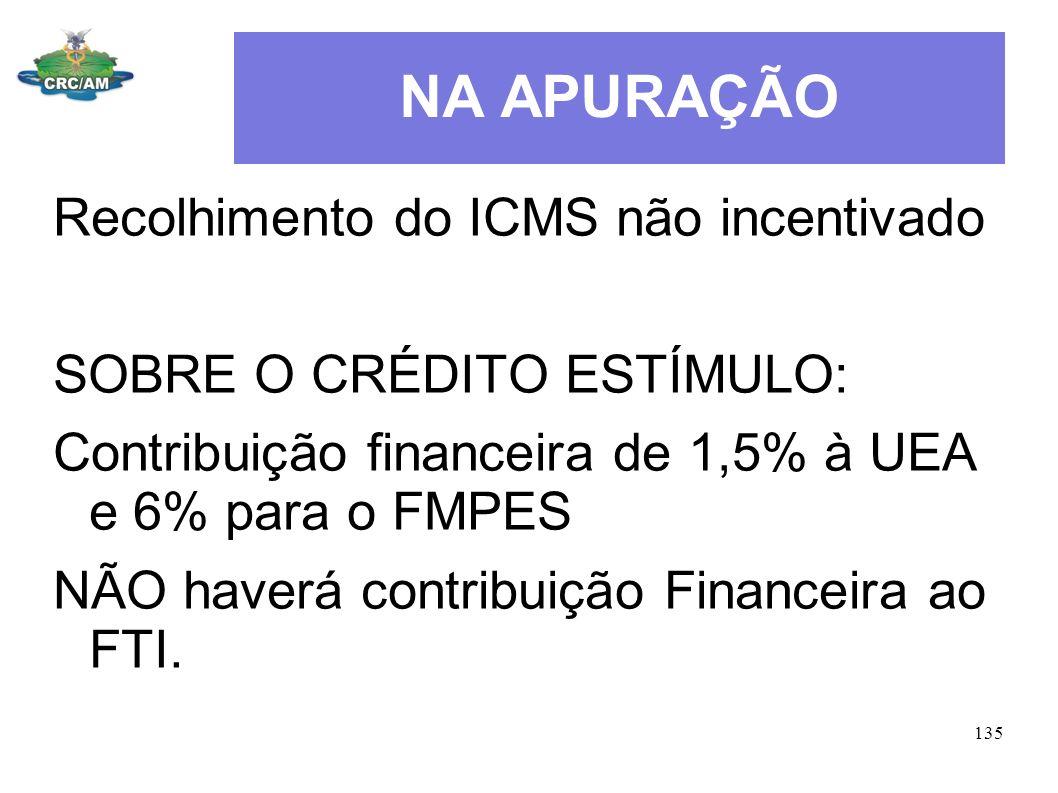 NA APURAÇÃO Recolhimento do ICMS não incentivado
