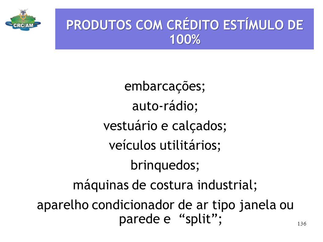 PRODUTOS COM CRÉDITO ESTÍMULO DE 100%