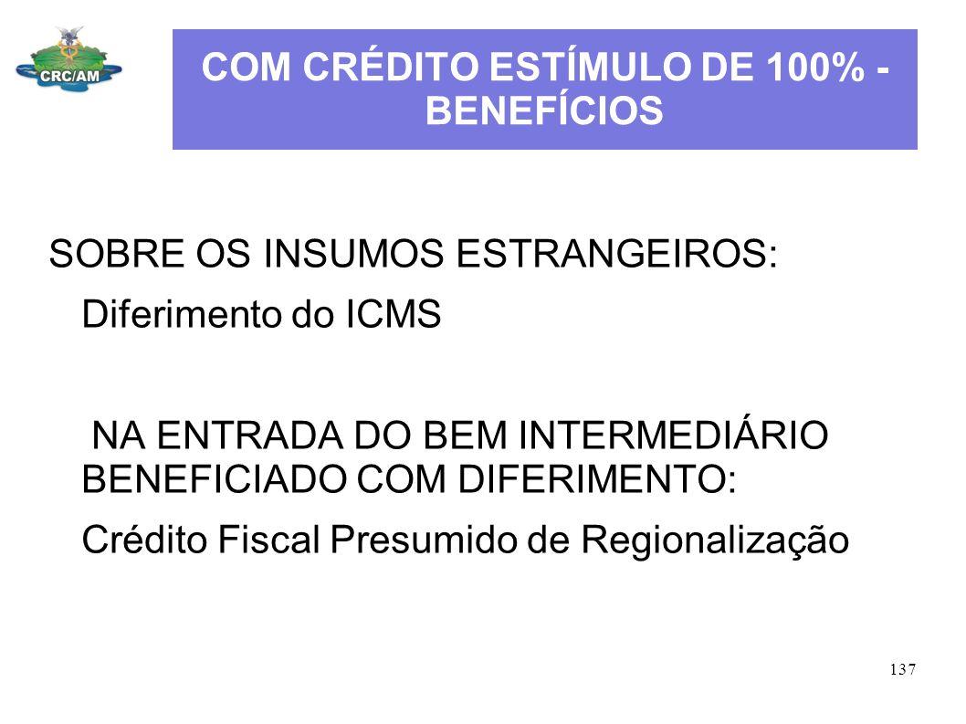 COM CRÉDITO ESTÍMULO DE 100% - BENEFÍCIOS