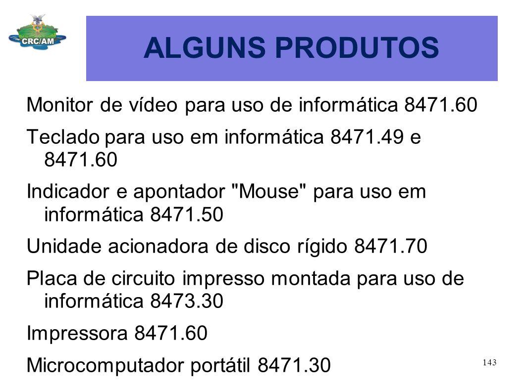 ALGUNS PRODUTOS Monitor de vídeo para uso de informática 8471.60