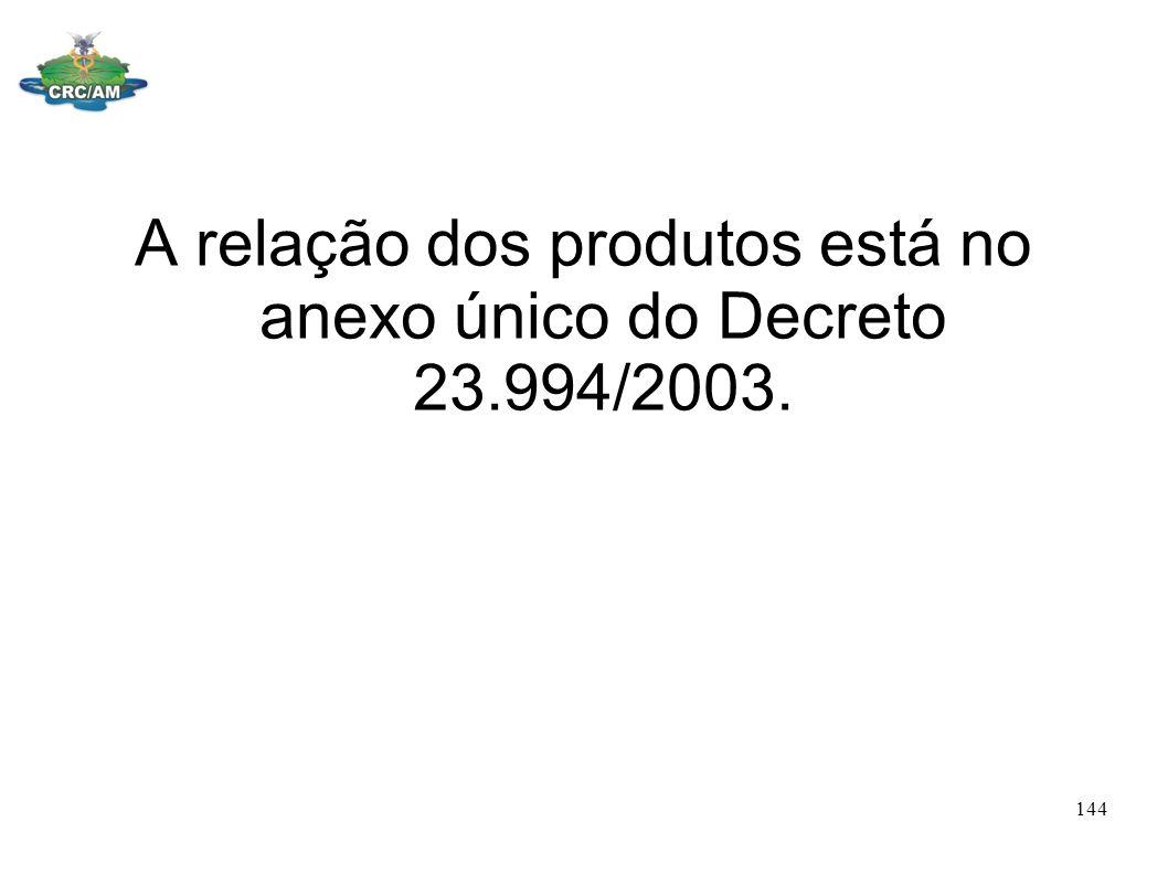 A relação dos produtos está no anexo único do Decreto 23.994/2003.
