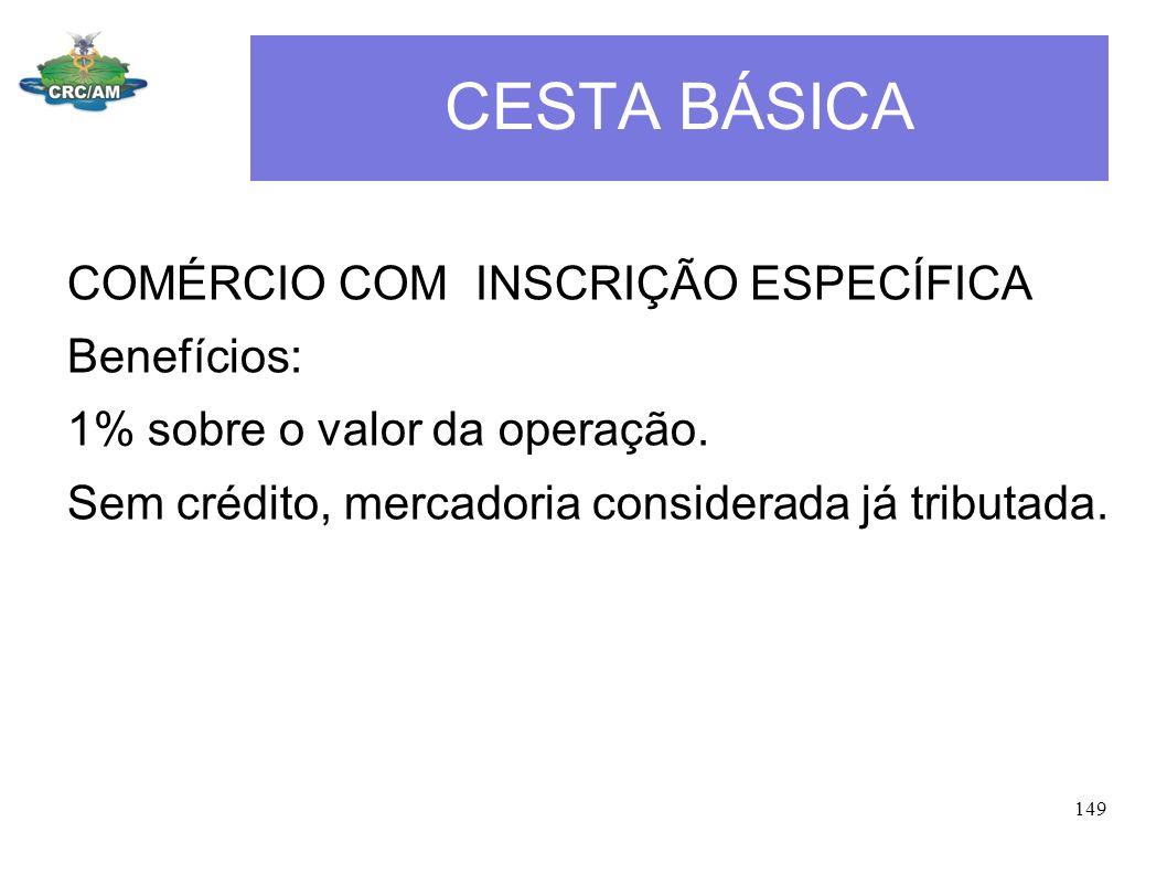 CESTA BÁSICA COMÉRCIO COM INSCRIÇÃO ESPECÍFICA Benefícios: