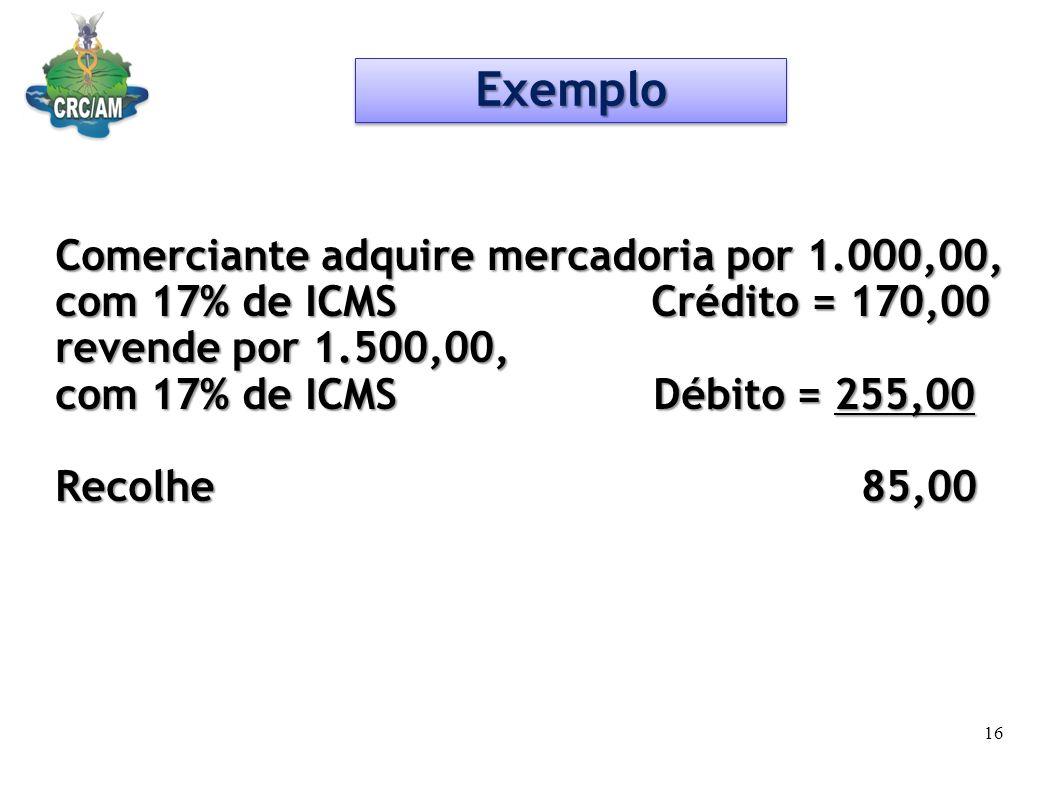 Exemplo Comerciante adquire mercadoria por 1.000,00,