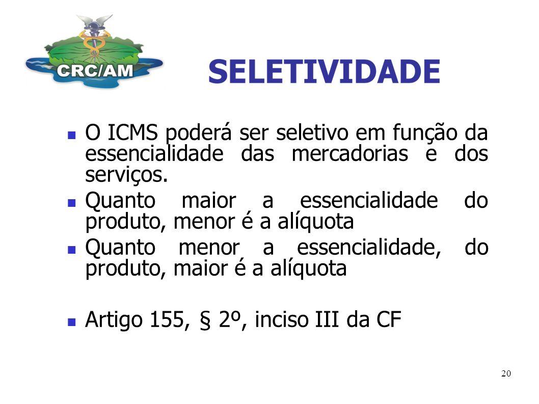 O ICMS poderá ser seletivo em função da essencialidade das mercadorias e dos serviços.
