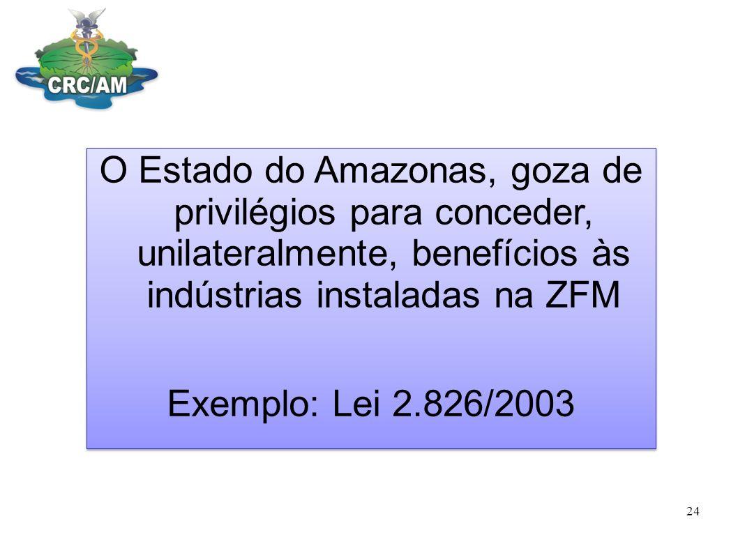 O Estado do Amazonas, goza de privilégios para conceder, unilateralmente, benefícios às indústrias instaladas na ZFM