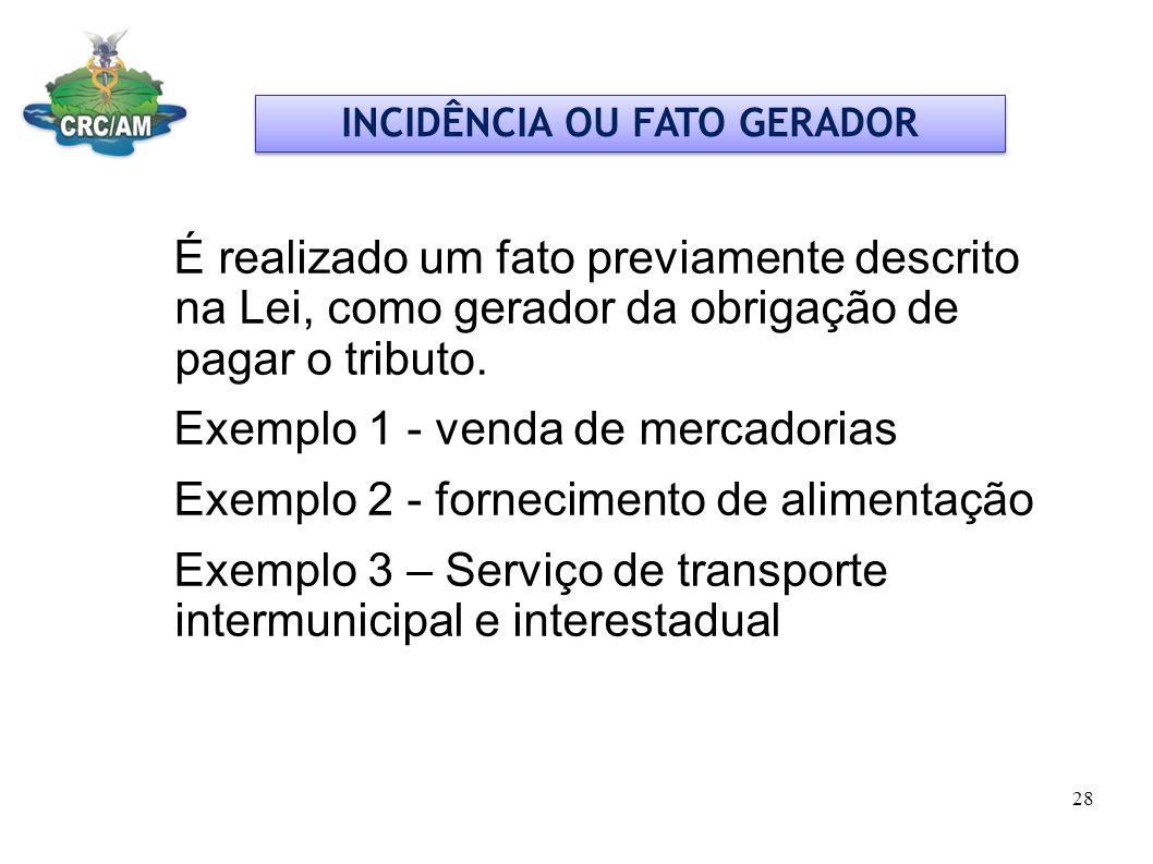 INCIDÊNCIA OU FATO GERADOR