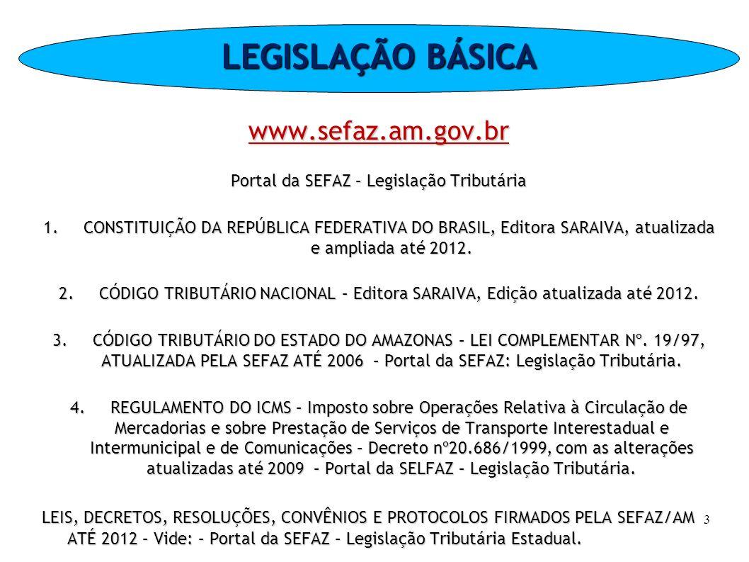 Portal da SEFAZ – Legislação Tributária