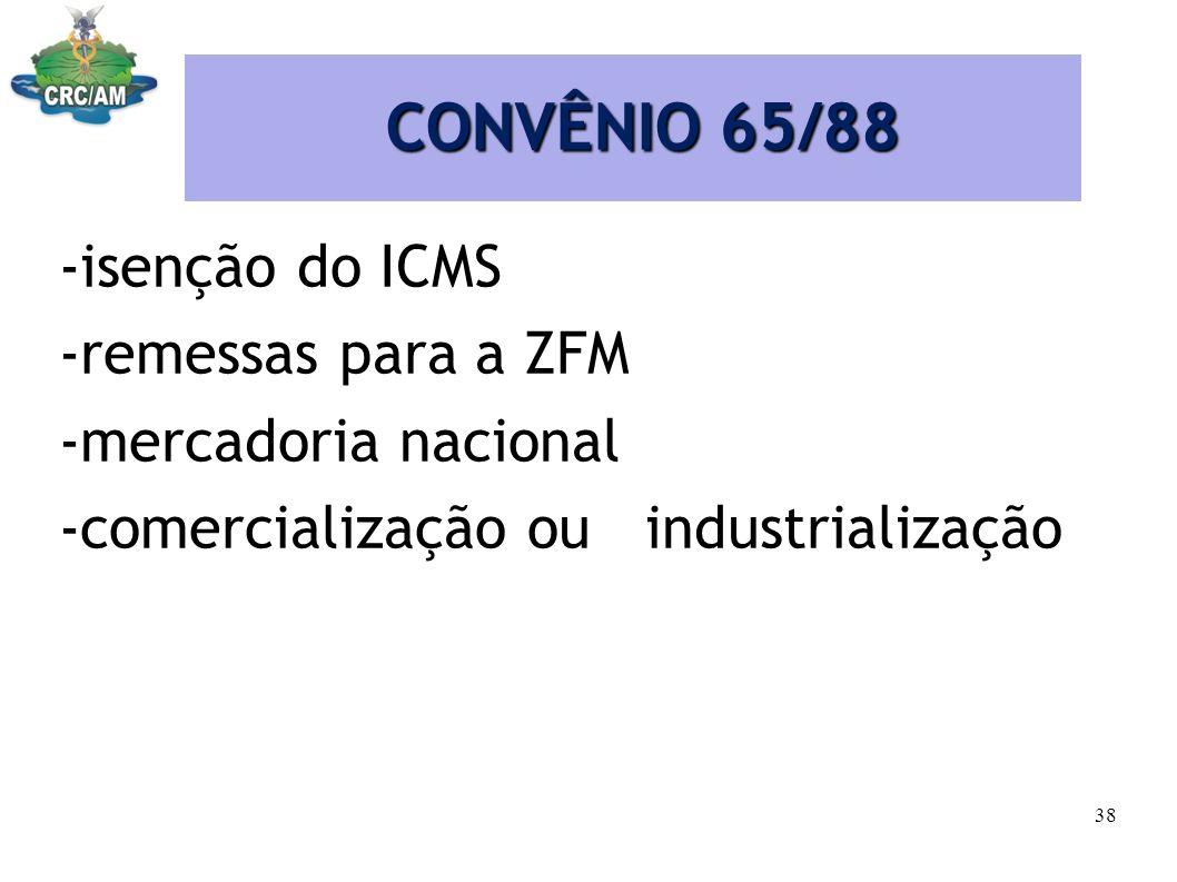 CONVÊNIO 65/88 -isenção do ICMS -remessas para a ZFM