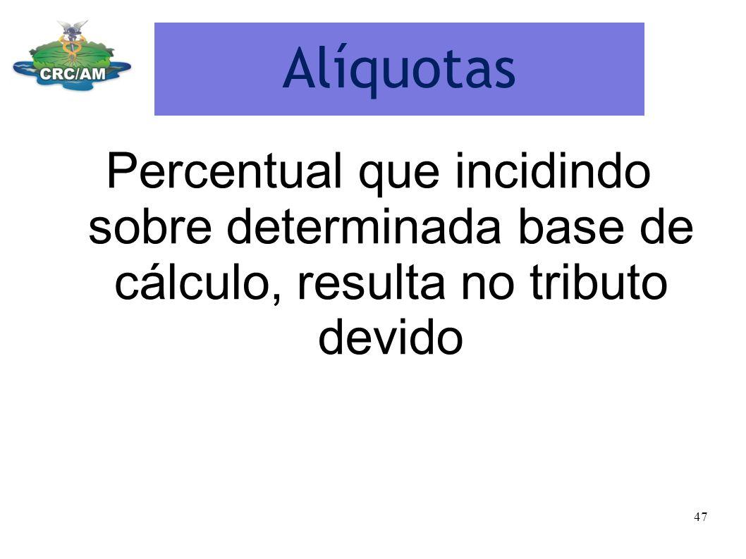 Alíquotas Percentual que incidindo sobre determinada base de cálculo, resulta no tributo devido