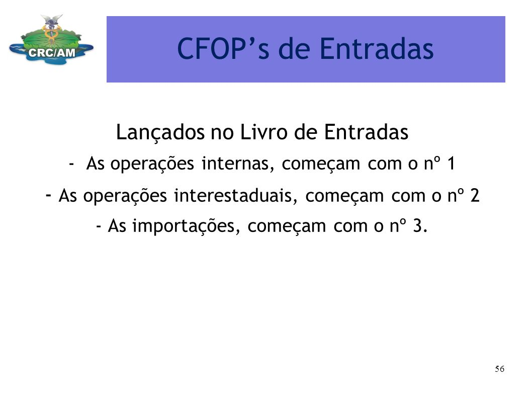 CFOP's de Entradas Lançados no Livro de Entradas