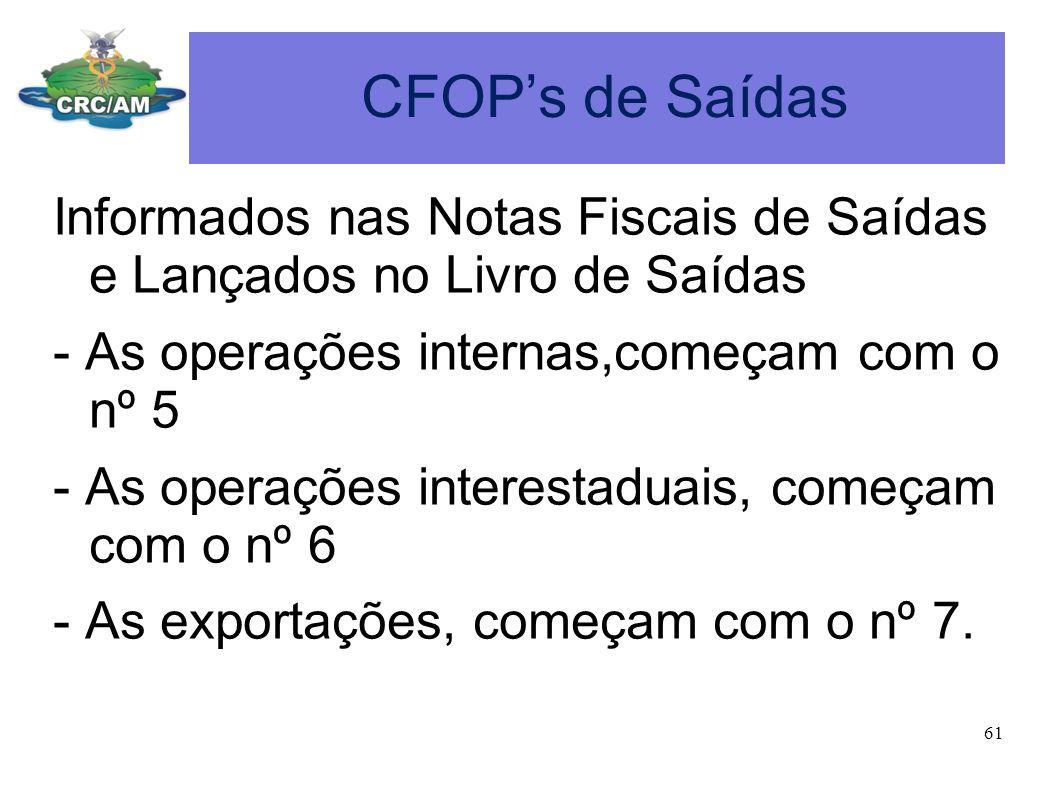 CFOP's de Saídas Informados nas Notas Fiscais de Saídas e Lançados no Livro de Saídas. - As operações internas,começam com o nº 5.
