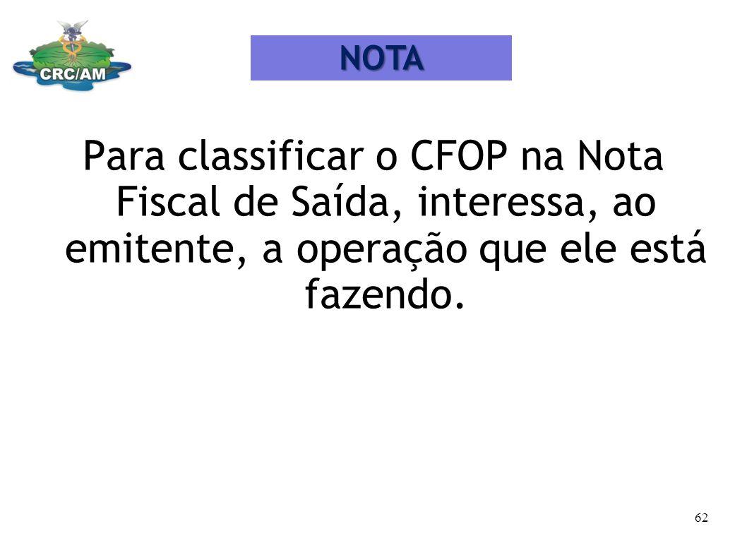 NOTA Para classificar o CFOP na Nota Fiscal de Saída, interessa, ao emitente, a operação que ele está fazendo.