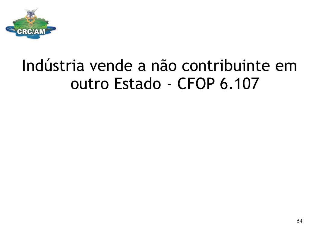 Indústria vende a não contribuinte em outro Estado - CFOP 6.107