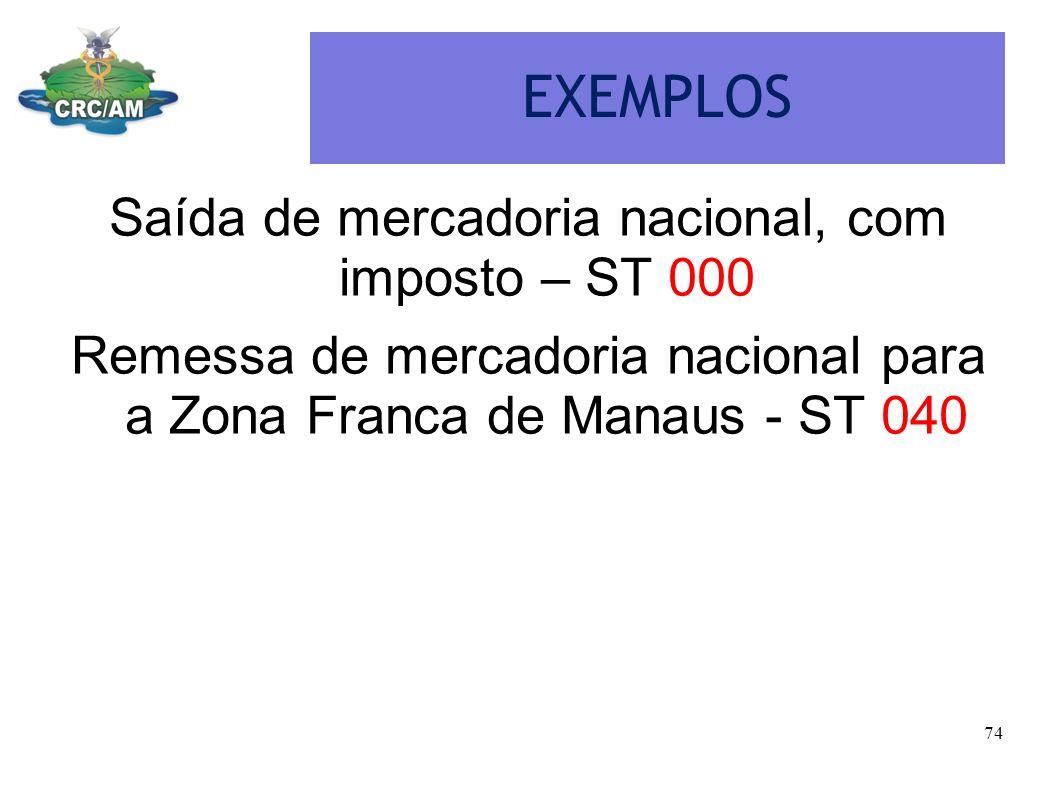 EXEMPLOS Saída de mercadoria nacional, com imposto – ST 000