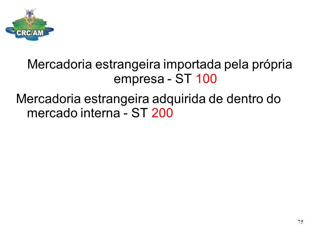 Mercadoria estrangeira importada pela própria empresa - ST 100