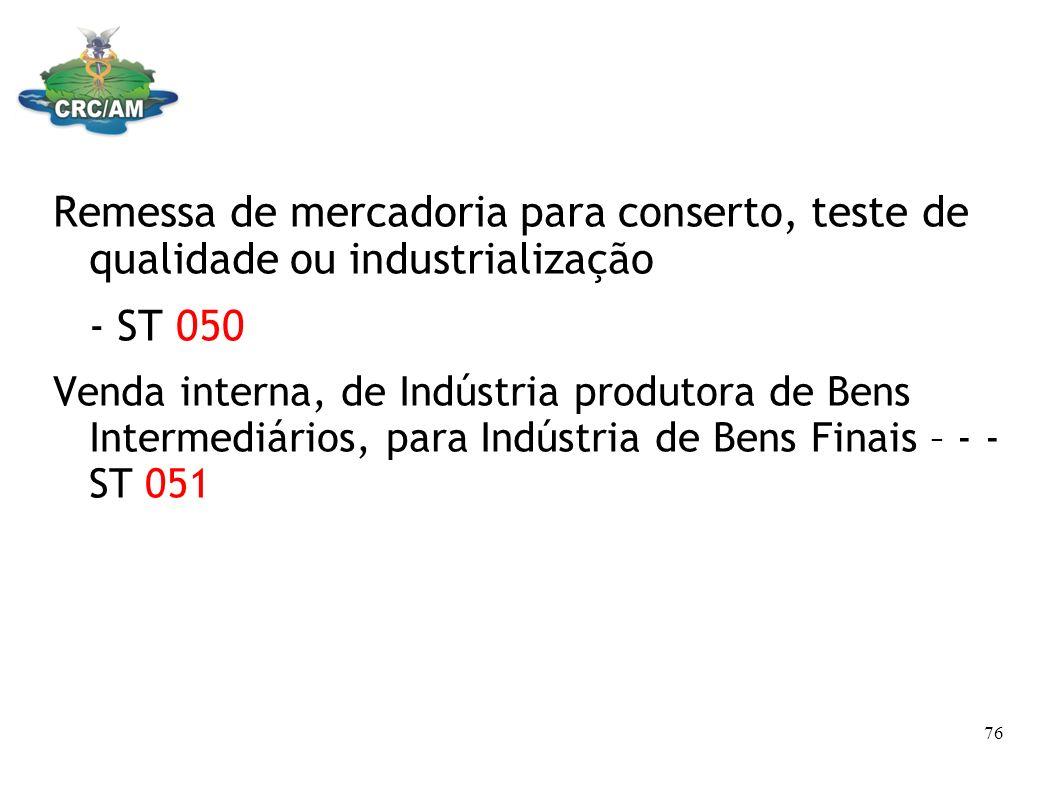 Remessa de mercadoria para conserto, teste de qualidade ou industrialização