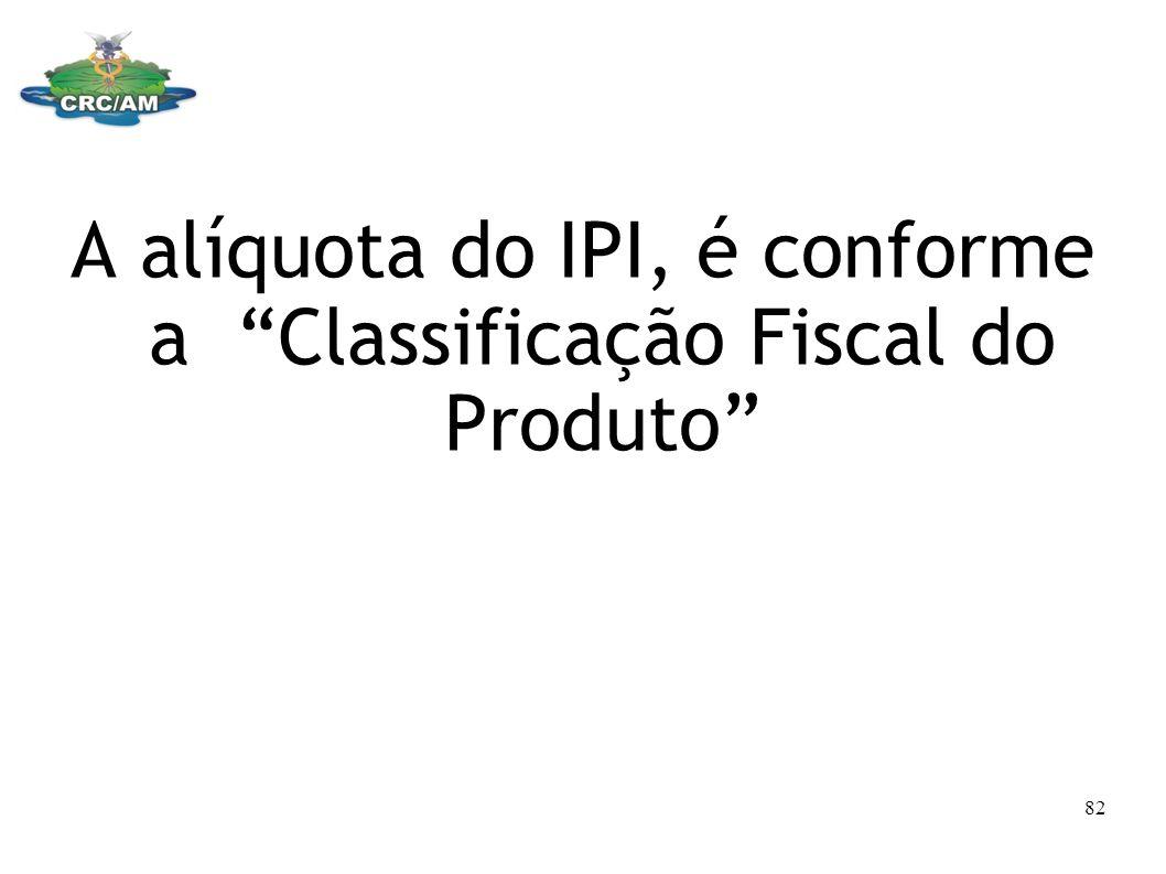 A alíquota do IPI, é conforme a Classificação Fiscal do Produto