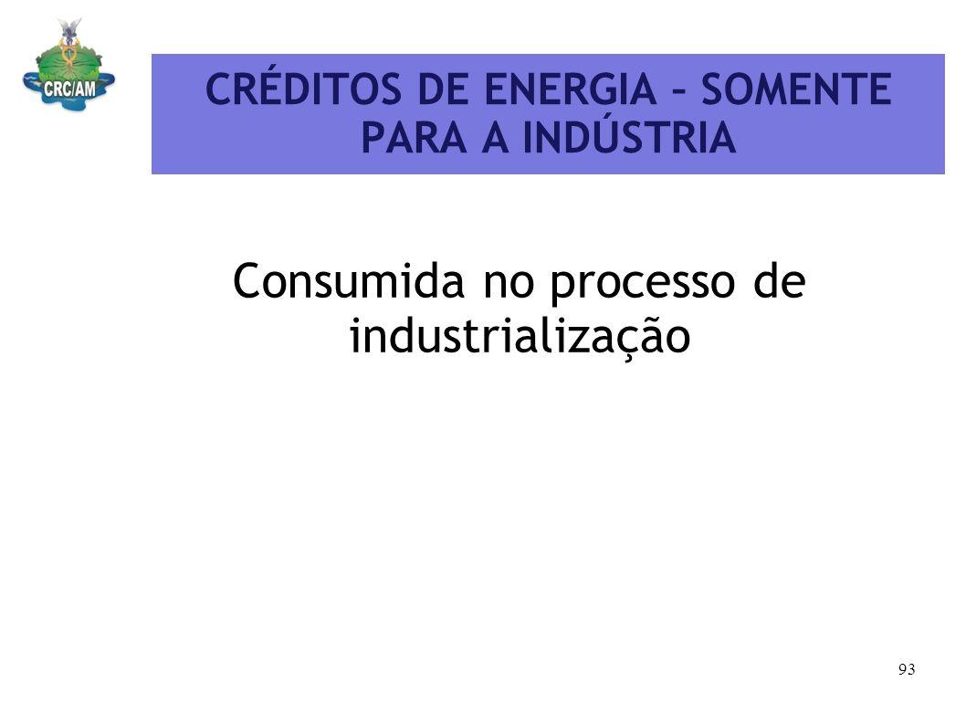 CRÉDITOS DE ENERGIA – SOMENTE PARA A INDÚSTRIA