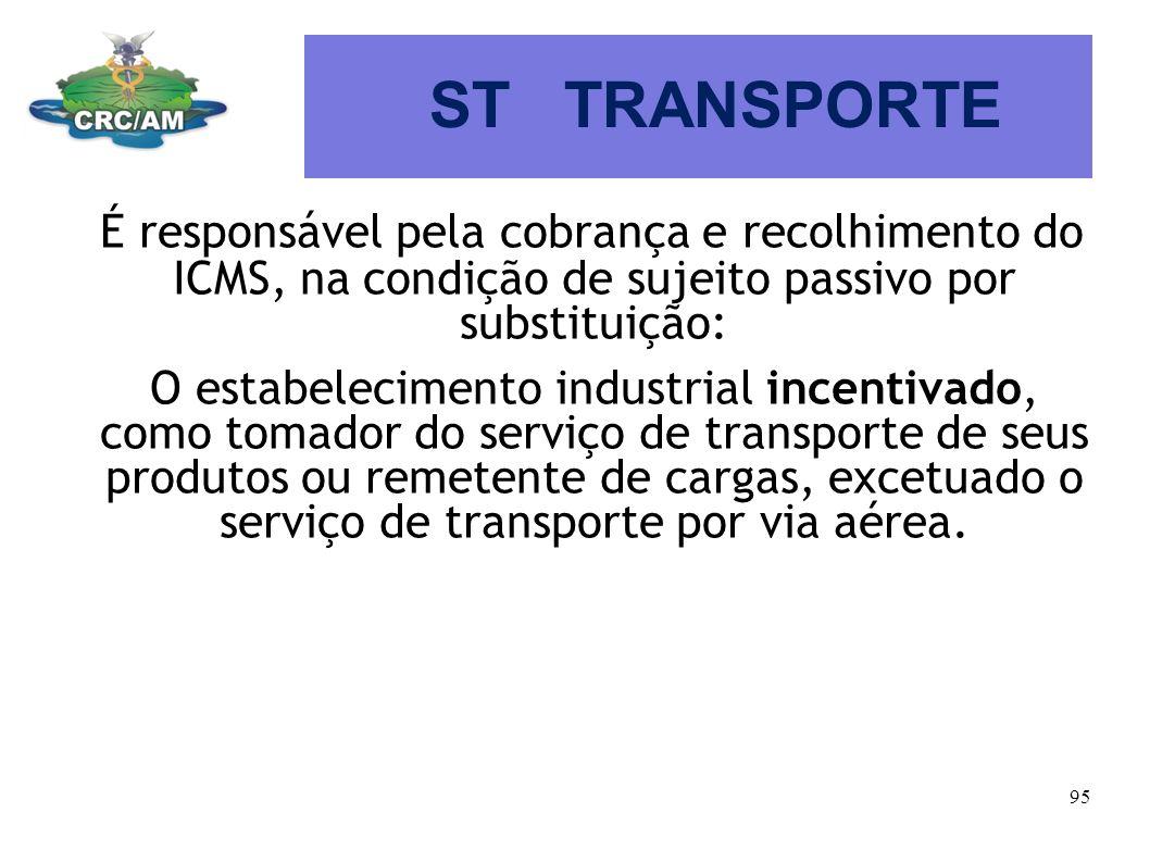 ST TRANSPORTE É responsável pela cobrança e recolhimento do ICMS, na condição de sujeito passivo por substituição: